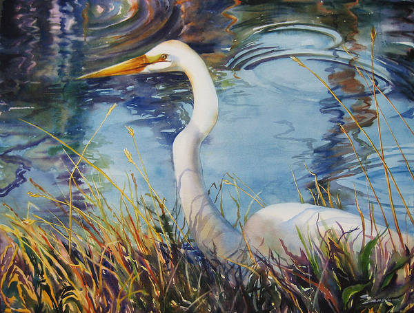 Wall Art - Painting - Egret In Cameron Marsh by Sue Zimmermann