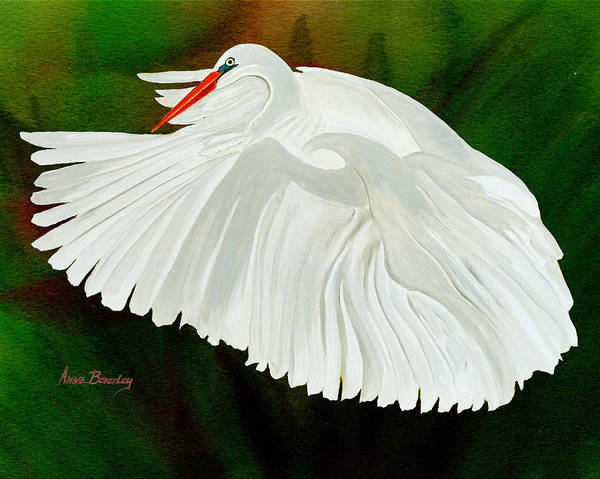 Painting - Egret In Flight by Anne Beverley-Stamps