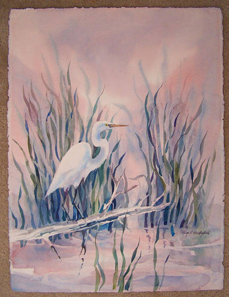 Wall Art - Painting - Egret by Margaret Hall Hoybach