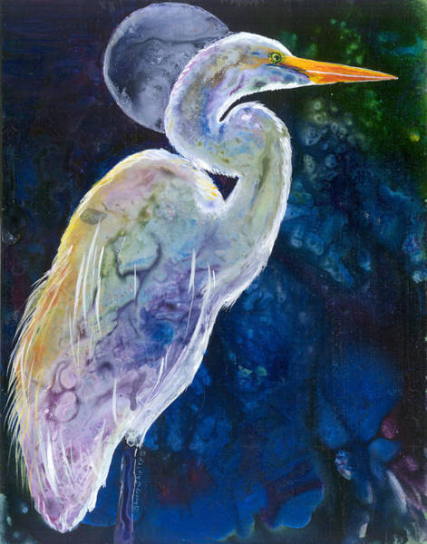 Painting - Egret Moon by Sherry Shipley