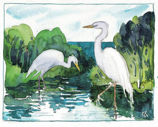 Painting - Egret Pair by Catinka Knoth