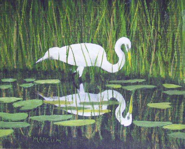 Water Foul Painting - Egret Reflections by John Marcum