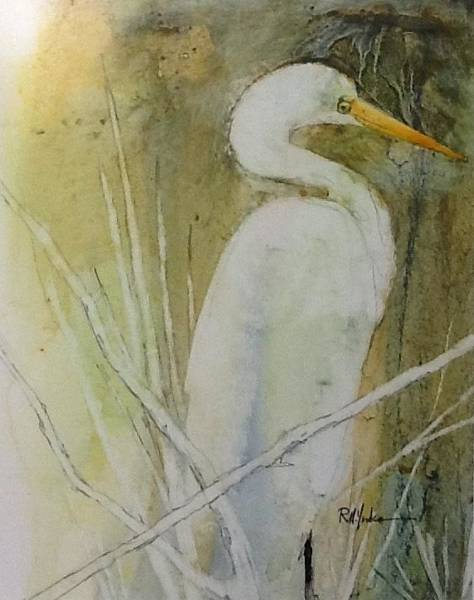 Saltwater Painting - Egret by Robert Yonke