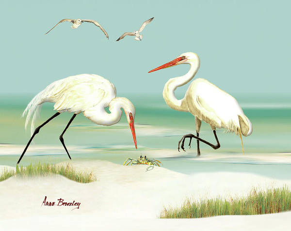 Painting - Egrets Crabbing by Anne Beverley-Stamps