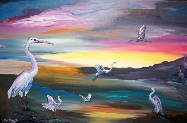 Painting - Egrets In Flight by Ray Khalife