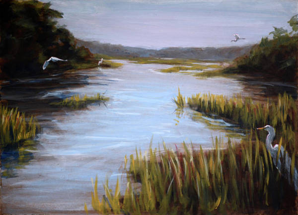 Painting - Egrets Study by Christopher Reid