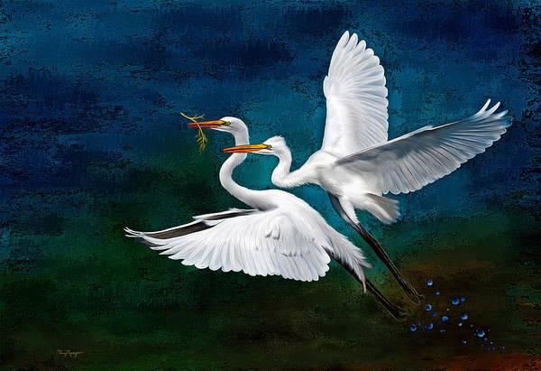 Egret Digital Art - Egrets by Thanh Thuy Nguyen