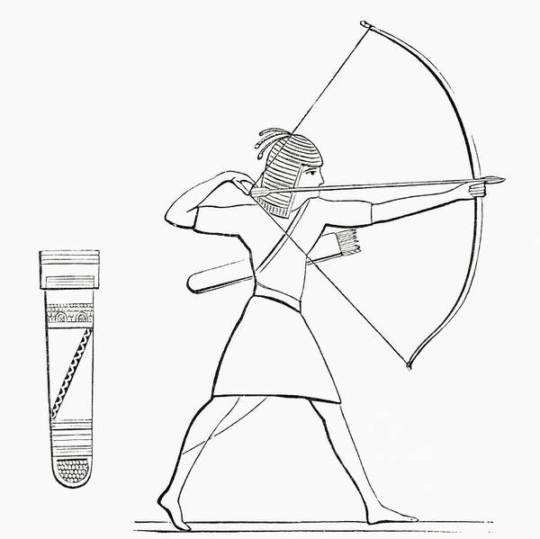 Ancient Egypt Drawing - Egyptian Archer And Quiver. From The by Vintage Design Pics