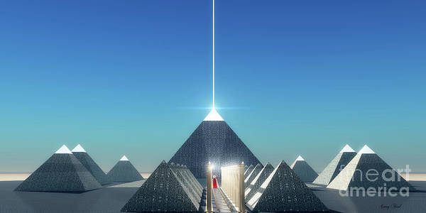 Wall Art - Digital Art - Egyptian Cosmic Pyramids by Corey Ford