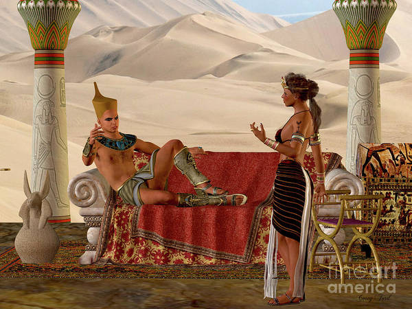 Wall Art - Digital Art - Egyptian Couple And Bench by Corey Ford
