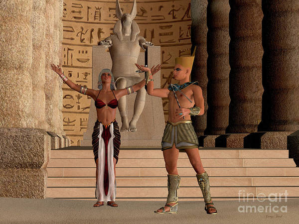Outfit Digital Art - Egyptian Couple In Temple by Corey Ford