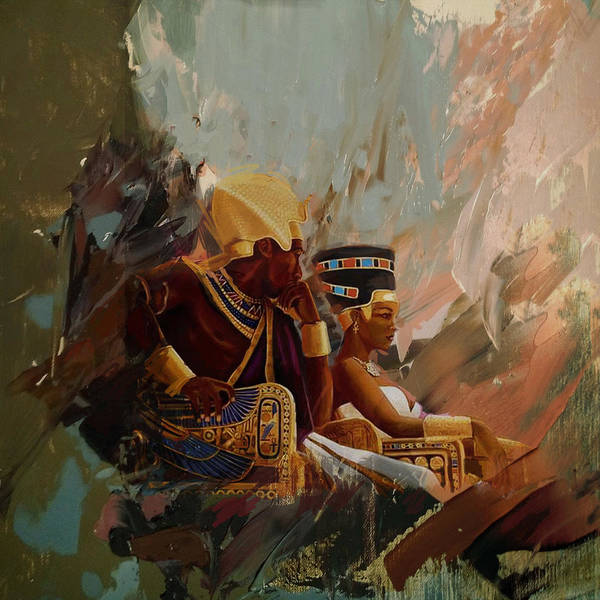 African Women Painting - Egyptian Culture 44b by Corporate Art Task Force