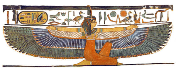 Ancient Egypt Painting - Egyptian Goddess Maat With Outstretched Wings by Ben  Morales-Correa