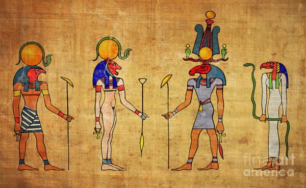 Ra Digital Art - Egyptian Gods And Goddness by Michal Boubin