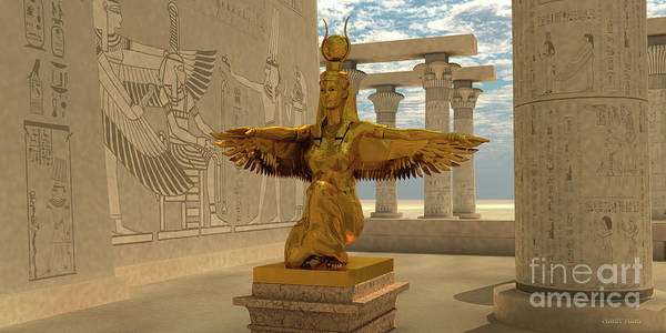 Wall Art - Digital Art - Egyptian Isis Statue by Corey Ford