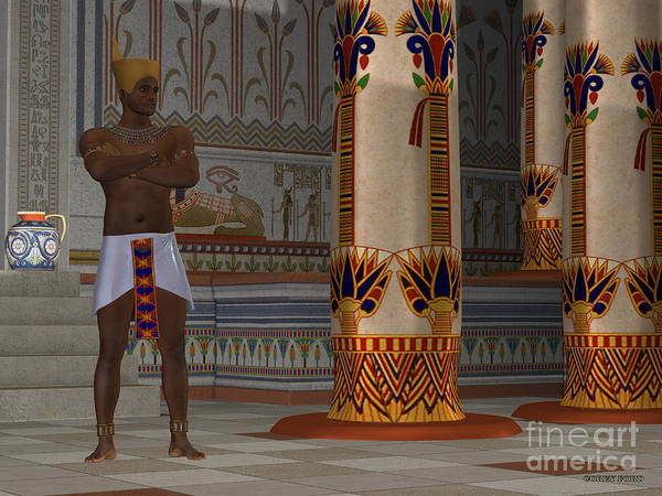 Kingship Wall Art - Painting - Egyptian Man In Palace by Corey Ford