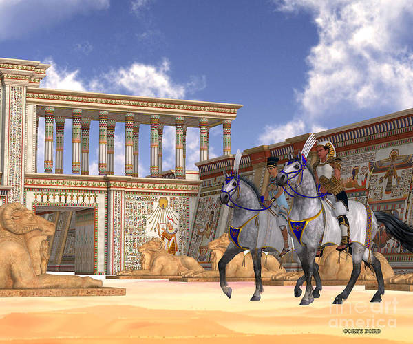 Kingship Wall Art - Painting - Egyptian Nobility On Horseback by Corey Ford
