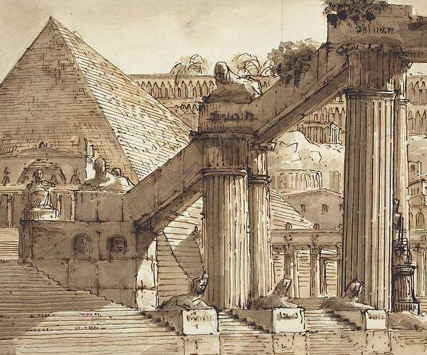 Wall Art - Drawing - Egyptian Stage Design by Pietro Gonzaga