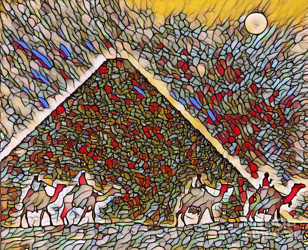 East Africa Digital Art - Egyptian Stained Glass Scene by John Malone