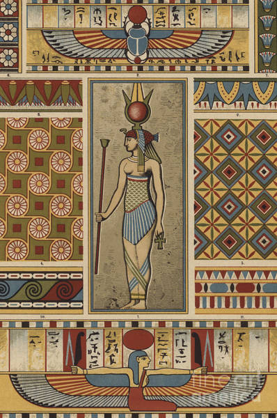 Ancient Egypt Drawing - Egyptian Textile Patterns by Egyptian School