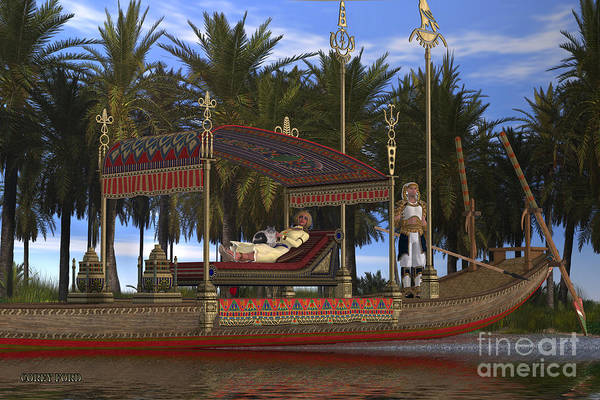 Kingship Wall Art - Painting - Egyptian Woman And Boat by Corey Ford