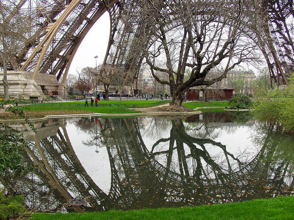 Photograph - Eiffel Base Reflection by Mark Currier