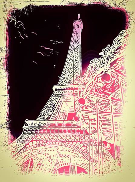 Ico Wall Art - Photograph - Eiffel Tower Abstract Pink And Beige by Mark J Dunn