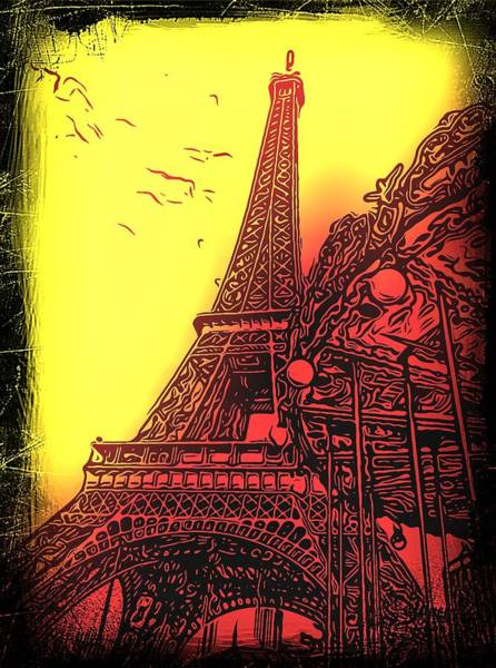 Ico Wall Art - Photograph - Eiffel Tower Abstract Yellow by Mark J Dunn