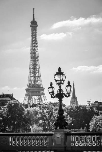 Lamppost Photograph - Eiffel Tower And Bridge Alexandre IIi by Delphimages Photo Creations
