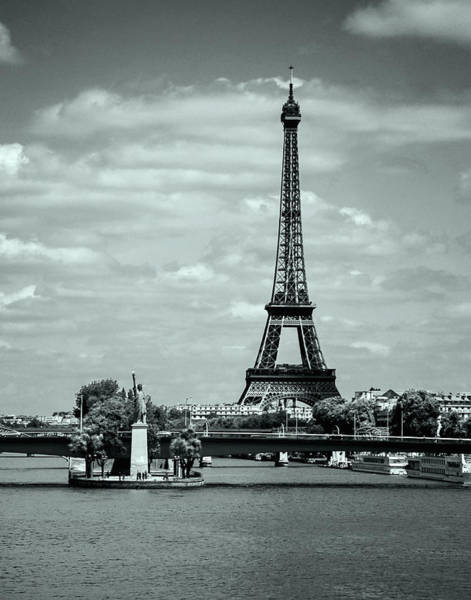 Photograph - Eiffel Tower And Lady Liberty In Paris - Bw by Allen Sheffield