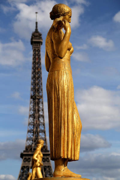 Photograph - Eiffel Tower And Statue 1 by Andrew Fare