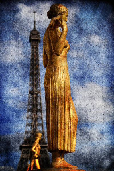 Photograph - Eiffel Tower And Statue 1b by Andrew Fare