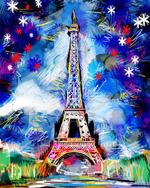 Vive La France Wall Art - Painting - Eiffel Tower Art by Pat Spark