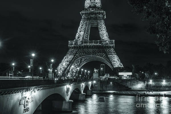 Photograph - Eiffel Tower At Night Lit Up In Black And White by Alissa Beth Photography