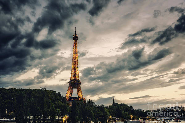 Photograph - Eiffel Tower At Sunset Blue Hour by Alissa Beth Photography