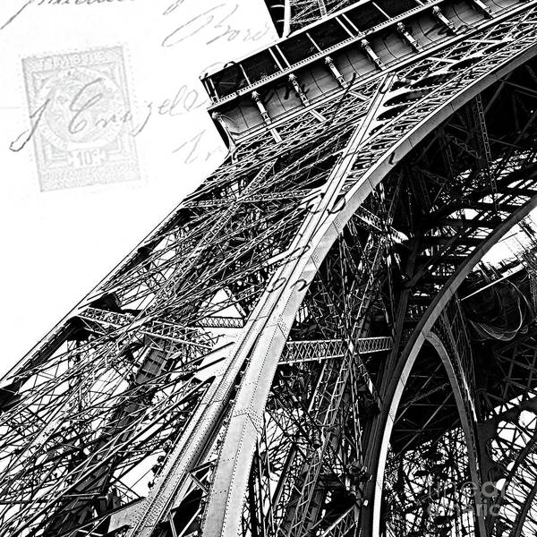Wall Art - Photograph - Eiffel Tower Black White Structure Architecture Closeup Eiffel Tower French Script  by Kathy Fornal