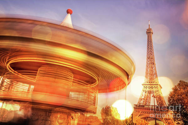 Carousels Photograph - Eiffel Tower Carousel by Delphimages Photo Creations