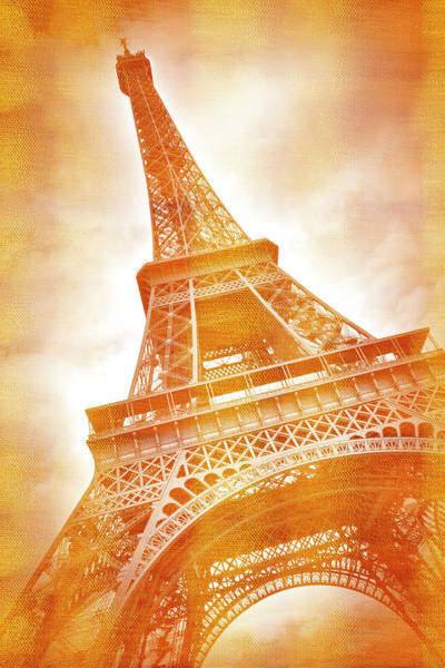 Wall Art - Photograph - Eiffel Tower Classical Red Golden Style by Melanie Viola