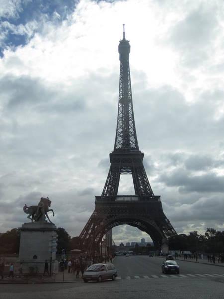Photograph - Eiffel Tower Clouds Paris France by John Shiron