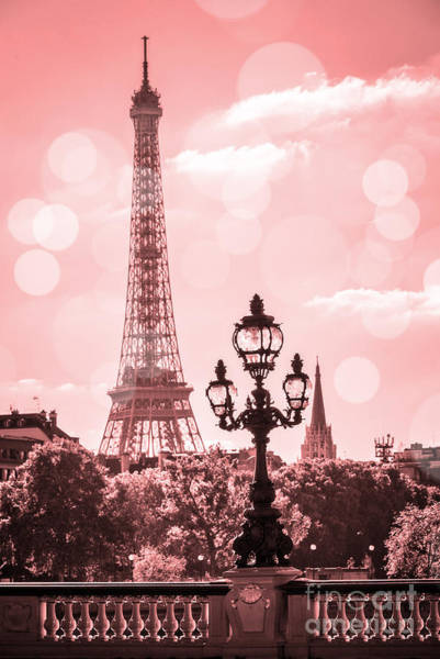 Lamppost Photograph - Eiffel Tower Dreamy Pastel by Delphimages Photo Creations