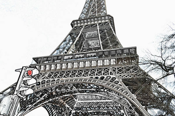 Deck Digital Art - Eiffel Tower First And Second Floor Perspective With Red Stoplight Colored Pencil Digital Art by Shawn O'Brien