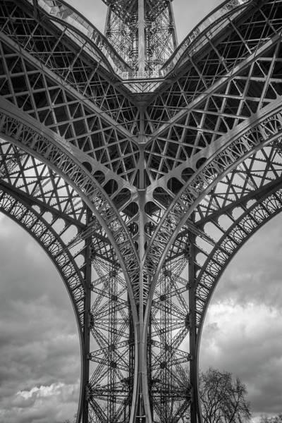 Photograph - Eiffel Tower From Below Bw by Joan Carroll