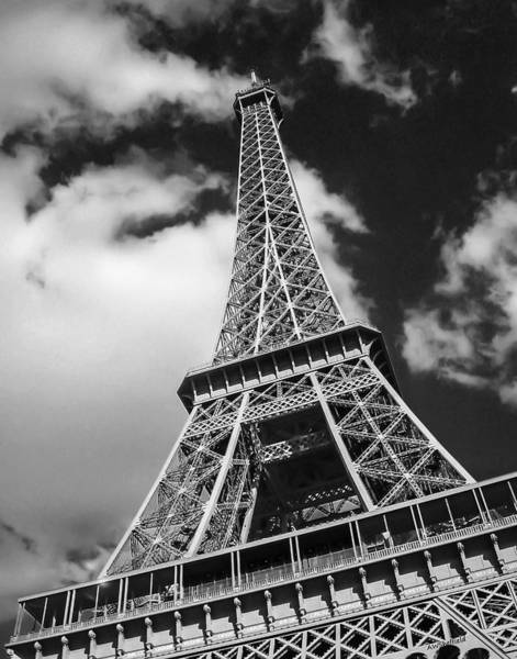 Photograph - Eiffel Tower In Black And White by Allen Sheffield
