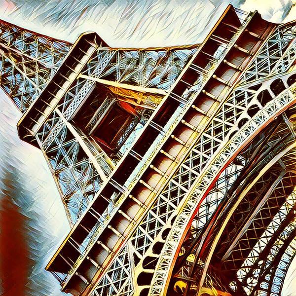 Mixed Media - Paris Eiffel Tower In Blue by Bellanda