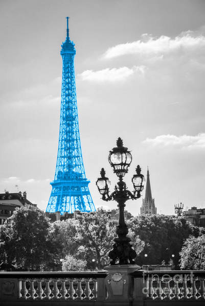 Lamppost Photograph - Eiffel Tower In Blue by Delphimages Photo Creations
