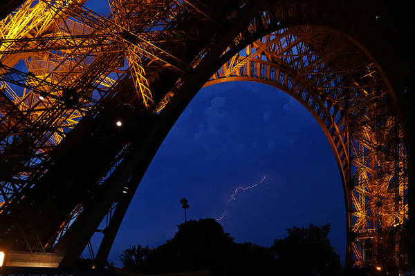 Photograph - Eiffel Tower Lightning Storm Paris France by Toby McGuire