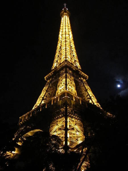 Photograph - Eiffel Tower Moon II Paris France by John Shiron