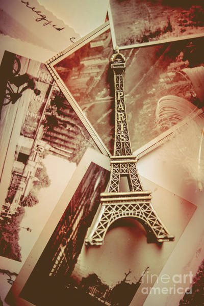 Postcard Photograph - Eiffel Tower Old Romantic Stories In Ancient Paris by Jorgo Photography - Wall Art Gallery