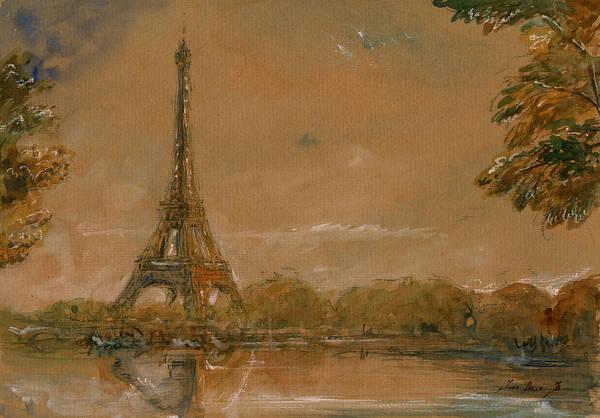 Wall Art - Painting - Eiffel Tower Paris Watercolor by Juan  Bosco