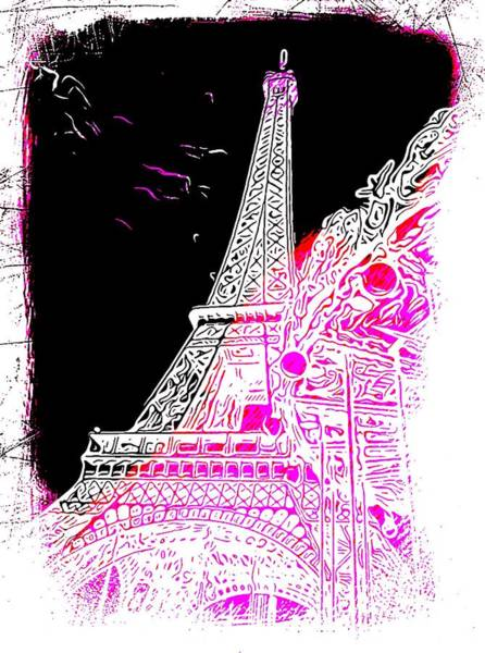 Ico Wall Art - Photograph - Eiffel Tower Pink And Black by Mark J Dunn